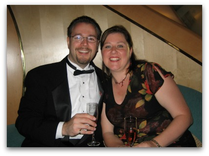 Warren and I on a Cruise Ship Vacation enjoying Formal Night