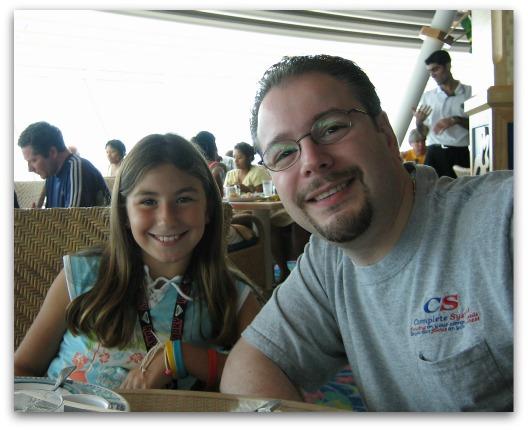 Family Cruise Vacation - Warren and Montana enjoying lunch