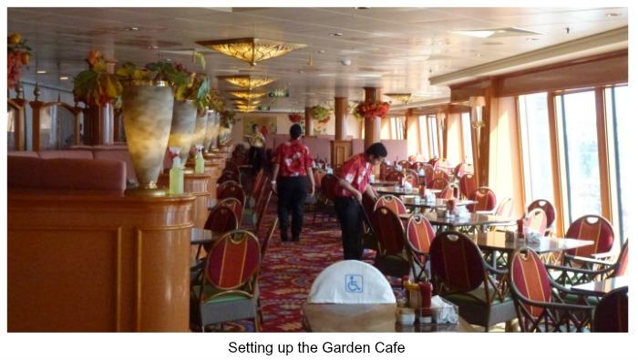 Norwegian Pearl Restaurants - Setting up the Garden Buffet